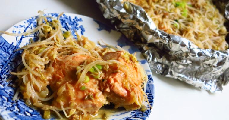 salmone e germogli di soia in salsa di miso