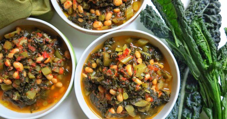 カーボロ・ネロ(黒キャベツ)と大豆のミネストラ