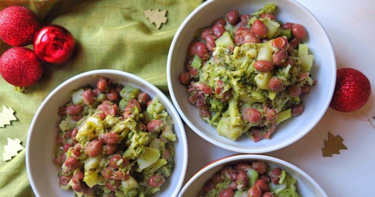 ブロッコリーとボルロッティ(うずら豆)の一皿