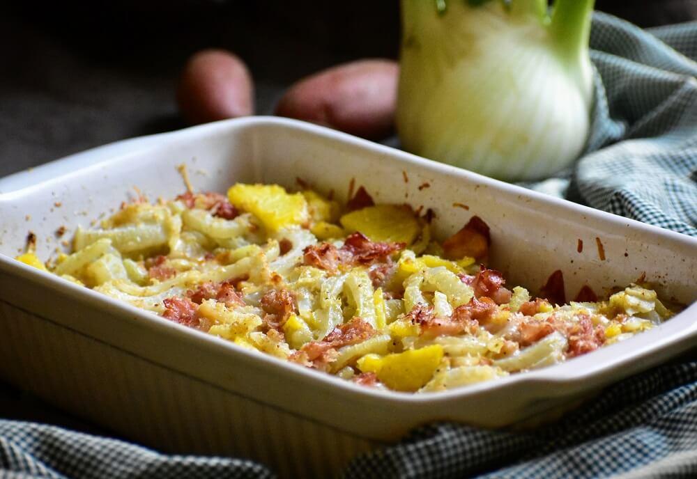 timballo di finocchi, patate e prosciutto