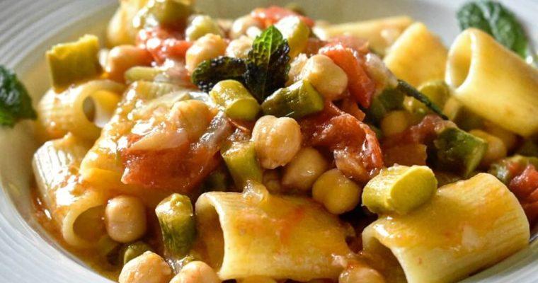 アスパラガスとひよこ豆のパスタ