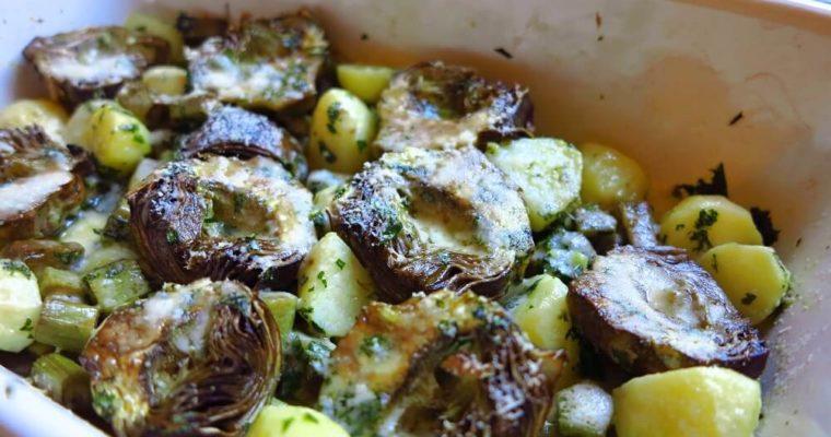 カルチョーフィとポテトのオーブン焼き ペコリーノチーズがけ