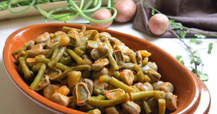 minestra di talli d'aglio, fave e patate