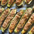 barchette di zucchine, zucchine ripiene, ズッキーニ・ボート、ズッキーニの肉詰め