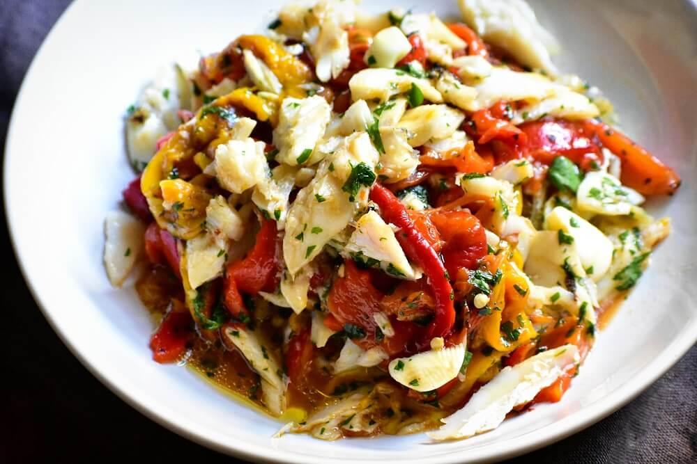insalata di baccalà e peperoni arrosto