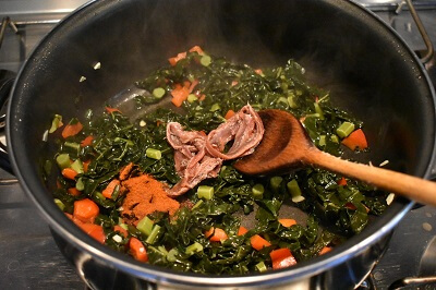 minestra di cavolo nero, orzo e acciughe カーボロネロ,とアンチョビとオルゾのミネストラ