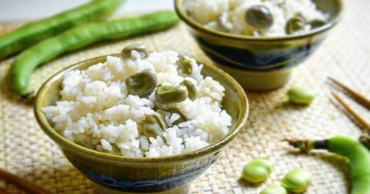 riso alla giapponese con fave (cucinato in pentola)