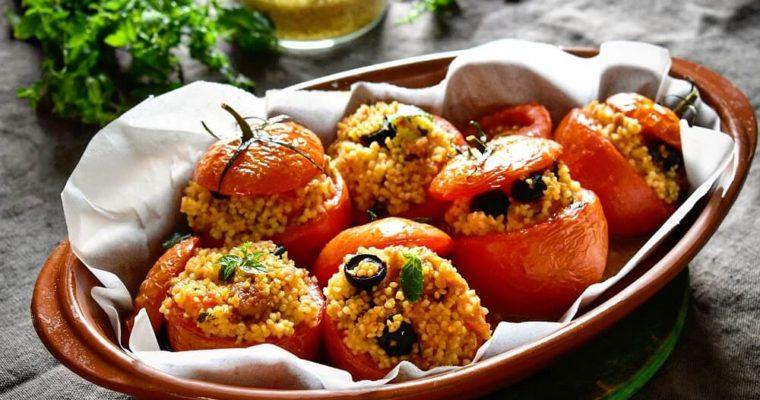 pomodori ripieni con cous-cous, tonno e olive