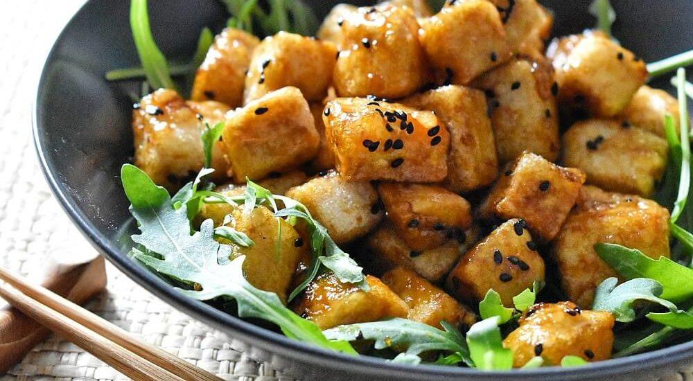 tofu fritto in salsa teriyaki