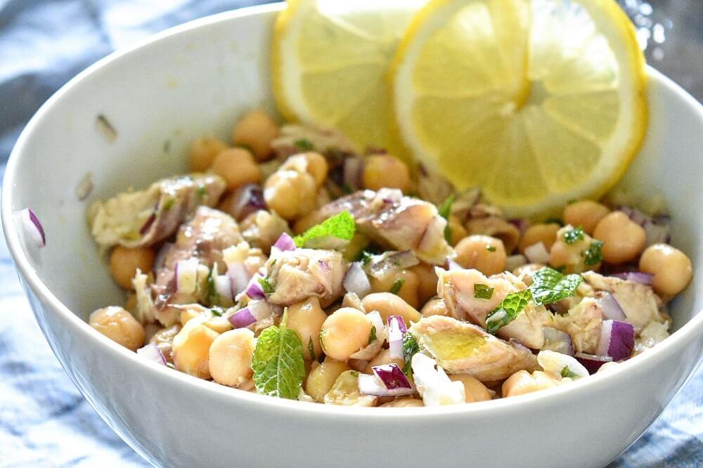 鯖缶とひよこ豆とミントの簡単サラダ