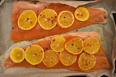 trota e mandarini al forno 鱒とみかんのオーブン焼き