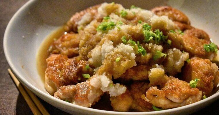 bocconcini di pollo con daikon e salsa ponzu
