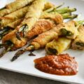 アスパラガスの鶏むね肉巻き トマト味噌, involtini di asaparagi e pollo con la salsa di miso e pomodoro