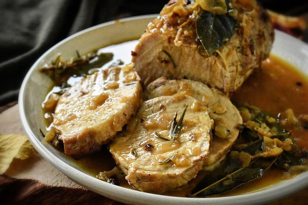 オーブンで作る豚肉のマスタード風味ロースト